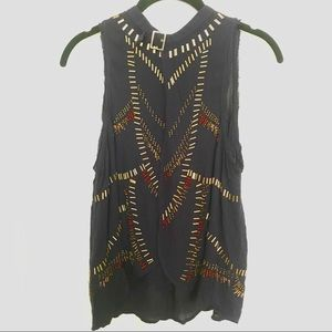 Free People Beaded Open Back Top